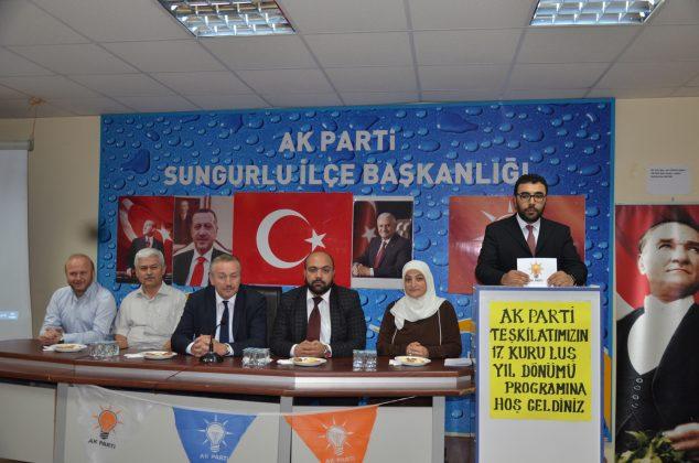 AK Parti Sungurlu ilçe teşkilatı, partinin 17. kuruluş yıl dönümünü pasta keserek kutladı. | Sungurlu Haber