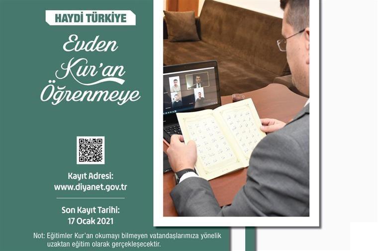 """Diyanet İşleri Başkanlığı, """"Haydi Türkiye Evden Kur'an Öğrenmeye"""" sloganıyla uzaktan eğitimle gerçekleştirilecek Kur'an-ı Kerim Öğretim Programı hazırladı."""