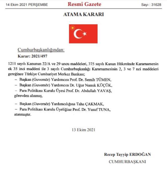 Merkez Bankası Başkanı Kavcıoğlu'nun Cumhurbaşkanı Erdoğan'la görüşmesinin ardından Merkez Bankası Başkan yardımcıları Prof. Dr. Semih Tümen ve Dr. Uğur Namık Küçük ile Para Politikası Kurulu üyesi Prof. Dr. Abdullah Yavaş görevden alındı. Başkan Yardımcılığı'na Taha Çakmak, Para Politikası Kurulu üyeliğine ise Prof. Dr. Yusuf Tuna atandı.   Sungurlu Haber